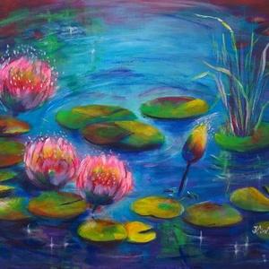 Színes tóról álmodtam - akrilfestmény, Képzőművészet, Otthon & lakás, Festmény, Akril, Festészet, 30 x 40 centis akrilfestmény feszített vásznon, keret nélkül. Egy csepp természet a lakásban.\nPontos..., Meska