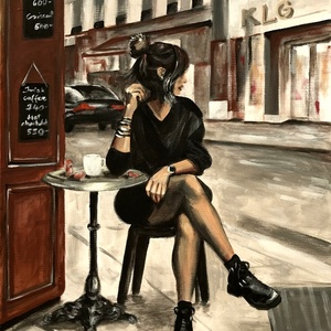 Egy kávé a városban - akrilfestmény, Otthon & lakás, Képzőművészet, Festmény, Akril, Dekoráció, Kép, Festészet, 75 x 58 centis akrilfestmény feszített vásznon, keret nélkül. Egy kávé mindig jólesik a nagy hajtásb..., Meska