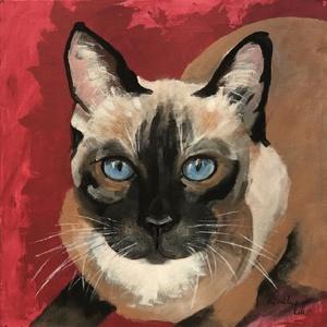 Ludmilla - akrilfestmény, Otthon & lakás, Képzőművészet, Festmény, Olajfestmény, Dekoráció, Kép, Festészet, 40 x 40 centis akrilfestmény vásznon, keret nélkül. Egy kicsit mérgesen néz a macska, de mindenkinek..., Meska
