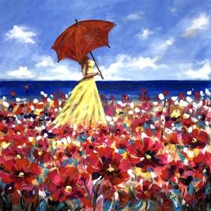Virágtenger - akrilfestmény, Otthon & lakás, Képzőművészet, Festmény, Akril, Dekoráció, Kép, Festészet, 58 x 58 centis akrilfestmény feszített vásznon, keret nélkül. Tavaszi, könnyed, színes, kellemes han..., Meska