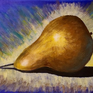 Aranykörte - akrilfestmény faroston, Művészet, Festmény, Akril, Festészet, Az aranyalma mintájára aranykörtét festettem.\n\nKb. 25 x 40 centis akrilfestmény faroston.\n\nSzemélyes..., Meska