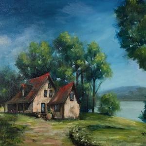 Kis ház a folyó partján - olajfestmény, Otthon & lakás, Képzőművészet, Festmény, Olajfestmény, Dekoráció, Kép, Festészet, Nagyméretű, 50 x 70 centis olajfestmény feszített vásznon, keret nélkül. Személyes átvétel a 18. ker..., Meska