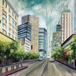 Metropolis - akció, Művészet, Olajfestmény, Festmény, Nagyméretű, 50 x 70 centis olajfestmény feszített vásznon, keret nélkül. Egy amerikai nagyvárost ábr..., Meska
