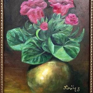 Gloxinia, Művészet, Festmény, Olajfestmény, Festészet, 30 x 25 centis olajfestmény feszített vásznon, a képen látható keret nélkül. Egy szép cserepes virág..., Meska