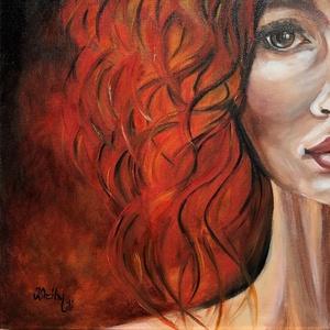Tüzek lánya - olajfestmény, Művészet, Festmény, Olajfestmény, Festészet, 40 x 40 centis olajfestmény feszített vásznon. Egy fiatal, tüzes, igazi mai lányt/hölgyet ábrázol a ..., Meska