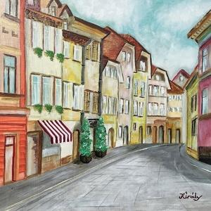 Ljubljana - olajfestmény, Művészet, Festmény, Olajfestmény, Festészet, 40 x 50 centis olajfestmény faroston, a képen látható keret nélkül. Egy  csendes, kihalt utcát ábráz..., Meska