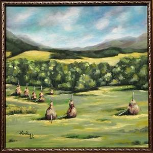 Kárpátalja - Volóc - olajfestmény, Olajfestmény, Festmény, Művészet, Festészet, 50 x 50 centis olajfestmény feszített vásznon, a képen látható keret nélkül. Üde zöld táj a jellegze..., Meska