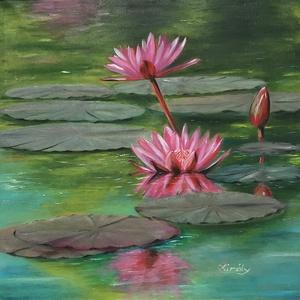 Water lily - 50 x 50 centis olajfestmény, Művészet, Festmény, Olajfestmény, Festészet, 50 x 50 centis olajfestmény feszített vásznon, a képen látható keret nélkül. A festmény már szerepel..., Meska