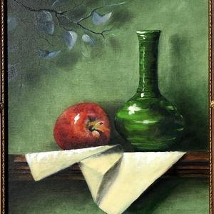 Csendélet zöld vázával - olajfestmény blondel keretben, Otthon & lakás, Képzőművészet, Festmény, Olajfestmény, Dekoráció, Kép, Festészet, Klasszikus csendélet kasírozott vászonon. Az ár a keretet is tartalmazza.\n\nÁtvétel személyesen a 18...., Meska