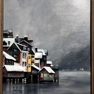 Ködbe vész a távol - akrilfestmény, Képzőművészet, Otthon & lakás, Festmény, Akril, Festészet, 50 x 40 centis akrilfestmény faroston, lakkozva, keret nélkül. Egy hűvösebb északi, nyugodt, békés v..., Meska
