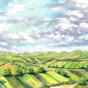 Tavasz a láthatáron - olajfestmény, Művészet, Olajfestmény, Festmény, 40 x 50 centis olajfestmény feszített vásznon, a képen látható keret nélkül.   Pontos postaköltséget..., Meska
