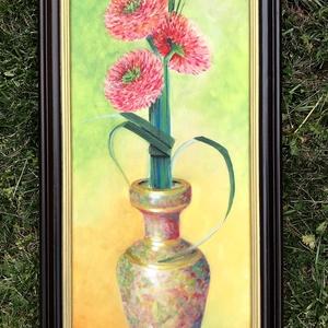 Virág a barátoktól - olajfestmény, Művészet, Olajfestmény, Festmény, 58 x 25 centis olajfestmény feszített vásznon, keret nélkül. Különleges módon megkötött gerberacsokr..., Meska