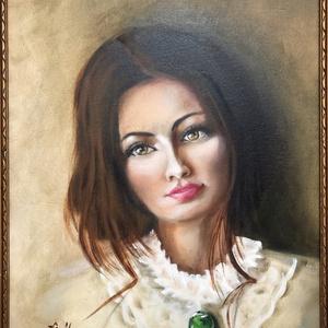 Smaragd bross - olajfestmény antik keretben, Művészet, Olajfestmény, Festmény, 47 x 38 centis portré kasírozott vásznon, a képen látható keretben. Régi keretben új festmény. Antik..., Meska