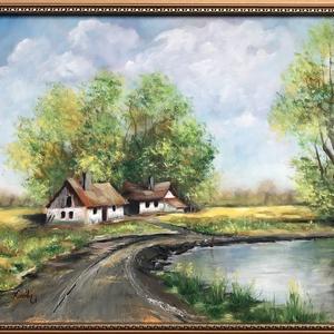 Alföldi tanya - olajfestmény, Művészet, Olajfestmény, Festmény, 40 x 50 centis olajfestmény feszített vásznon, keret nélkül. Egy igazi klasszikus téma, egy vidéki m..., Meska