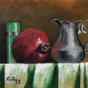 Csendélet gránátalmával - olajfestmény, Olajfestmény, Festmény, Művészet, Festészet, 18 x 24 centis olajfestmény kasírozott vásznon, a képen látható keret nélkül. A gránátalma az egészs..., Meska