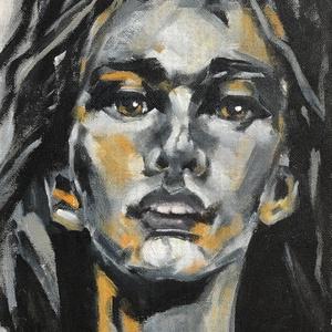 Petra - akrilfestmény, Képzőművészet, Otthon & lakás, Festmény, Akril, Festészet, 27,5 x 20,5 centis akrilfestmény vásznon, kérésre lakkozva, keret nélkül. Egy fiatal lány portréja.\n..., Meska
