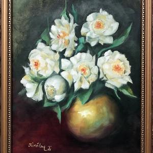 Tavasz a télben - olajfestmény, Olajfestmény, Festmény, Művészet, Festészet, 40 x 30 centis olajfestmény feszített vásznon, a képen látható keret nélkül.  A kép már szerepelt ki..., Meska