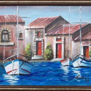 Szicíliai szieszta - akrilfestmény, Képzőművészet, Otthon & lakás, Festmény, Akril, Dekoráció, Kép, Festészet, 30 x 40 centis akrilfestmény feszített vásznon, lakkozva, keret nélkül. A nagy hőségben becsukott aj..., Meska