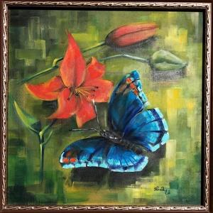 Kék pillangó - olajfestmény , Otthon & lakás, Képzőművészet, Festmény, Olajfestmény, Dekoráció, Kép, Festészet, 40 x 40 centis olajfestmény feszített vásznon, a képen látható keret nélkül. Ideális választás azokn..., Meska