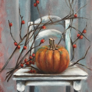 Októberi csendélet - olajfestmény, Olajfestmény, Festmény, Művészet, Festészet, 40 x 30 centis olajfestmény feszített vásznon, keret nélkül. Az október két jellegzetes növénye egy ..., Meska