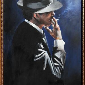 Dohányfüst - akrilfestmény, Művészet, Akril, Festmény, Fabian Perez egyik képének másolata. Róla tudni kell, hogy nemzetközileg elismert, argentin származá..., Meska