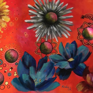 Neked nyíljon minden virág - akrilfestmény (vegyes technika), Művészet, Akril, Festmény, Festészet, Meska