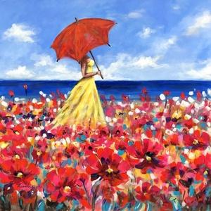 Virágtenger - akrilfestmény, Művészet, Festmény, Akril, Festészet, 58 x 58 centis akrilfestmény feszített vásznon, keret nélkül. Tavaszi, könnyed, színes, kellemes han..., Meska