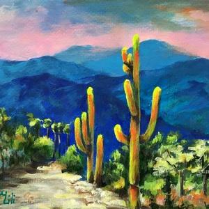 Kaktusz sétány - akrilfestmény, Művészet, Festmény, Akril, 23 x 33 centis akrilfestmény kartonon, keret nélkül. Erőteljes, látványos színekkel készült a festmé..., Meska