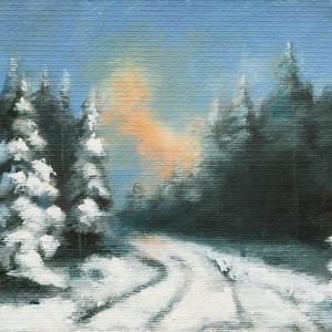 Decemberi séta a fenyvesben - akrilfestmény, Művészet, Festmény, Akril, 17 x 25 centis akrilfestmény művészpapíron. Az igazi tél egyik legszebb szimbóluma a havas fenyő. Ez..., Meska