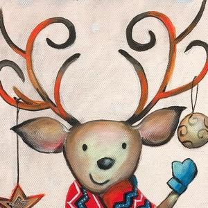 Rudolf karácsonyi üdvözlete - akrilfestmény, Művészet, Festmény, Akril, 58 x 24 centis akrilfestmény feszített vásznon,  keret nélkül. Kedves kép lehet egy gyerekszobába. A..., Meska