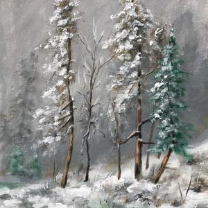 Téli erdő - akrilfestmény, Művészet, Festmény, Akril, 28 x 20,5 centis akrilfestmény vásznon, keret nélkül. Igazi ünnepváró hangulatot teremt. :)  Személy..., Meska