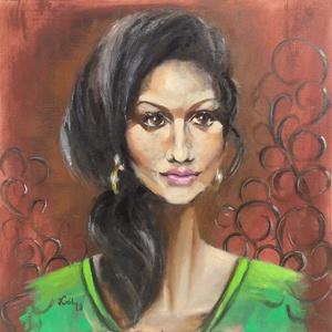 Amina - olajfestmény, Művészet, Festmény, Olajfestmény, 50 x 50 centis olajfestmény feszített vásznon, keret nélkül. Egzotikus vonású fiatal, gondolataiba m..., Meska