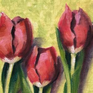 Három szál tulipán - keretezett olajfestmény, Művészet, Festmény, Olajfestmény, 30 x 20 centis olajfestmény kasírozott vásznon, a képen látható fa képkeretben. Szokatlan elrendezés..., Meska