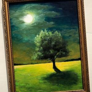 Különös éjszaka - keretezett olajfestmény, Művészet, Festmény, Olajfestmény, 31.5 x 23,5 centis olajfestmény faroston, a képen látható régi keretben. A megadott méret a festmény..., Meska