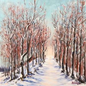 Hólepte hegygerinc - akrilfestmény, Művészet, Festmény, Akril, Festészet, 40 x 40 centis akrilfestmény feszített vásznon,  keret nélkül. Havas, hideg téli táj fenn a hegyekbe..., Meska