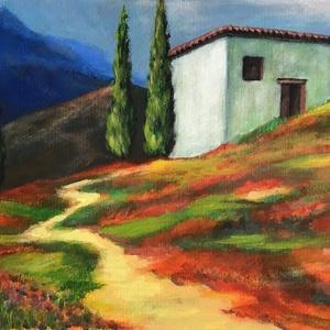 Út a színes dombon - akrilfestmény, Művészet, Festmény, Akril, Festészet, 23 x 33,5 centis akrilfestmény papíron, keret nélkül. Látványos, élénk színekkel megfestett kép.\nSze..., Meska