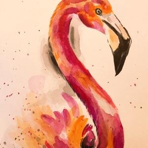 Flamingó - akvarell, Művészet, Festmény, Akvarell, Festészet, 21 x 14 centis akvarell keret nélkül. Kedves kép lehet például bekeretezve egy gyerekszobába, de bár..., Meska