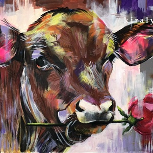 Romantikus tehén - akrilfestmény, Művészet, Festmény, Akril, Festészet, 22 x 34 centis akrilfestmény akrilpapíron, keret nélkül.\n\nSzínesítsünk, ez pozitív hatással van ránk..., Meska