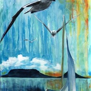 Kékrózsás Balaton - akrilfestmény, Művészet, Festmény, Akril, Festészet, 70 x 40 centis akrilfestmény feszített vásznon, keret nélkül. Modern felfogásban megfestett Balaton...., Meska