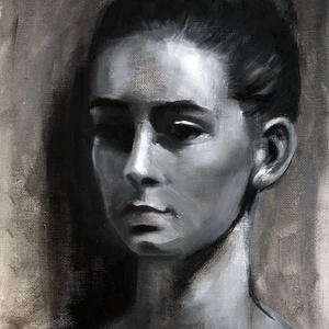 Balerina - monokróm olajfestmény - grisaille, Művészet, Festmény, Akril, Festészet, 28 x 24 centis olajfestmény vásznon, keret nélkül. Grisaille technikával  készült.\n\nSzemélyes átvéte..., Meska