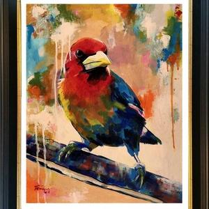 Színes dallam - akrilfestmény (madár), Művészet, Festmény, Akril, Festészet, 45 x 35,5 centis akrilfestmény faroston, keret nélkül. Imádom a madarakat, ezért többször festem őke..., Meska