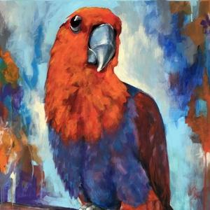 Pityuka vagyok - akrilfestmény (madár), Művészet, Festmény, Akril, Festészet, 80 x 50 centis akrilfestmény faroston, keret nélkül. Imádom a madarakat, ezért többször festem őket...., Meska