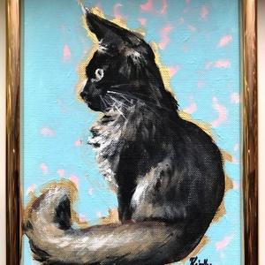 Figyelő macska - keretezett akrilfestmény (cica) - Meska.hu