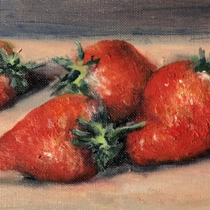 Négy szem eper - olajfestmény, Művészet, Festmény, Olajfestmény, Festészet, 9,5 x 16 centis olajfestmény papíron. Most van a szezonja, így aktuális volt az eprekről egy festmén..., Meska
