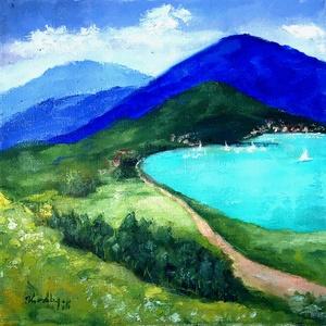 Út a tó körül - olajfestmény, Művészet, Festmény, Olajfestmény, Festészet, 20 x 20 centis olajfestmény feszített vásznon, keret nélkül. Egy jó nyár tökéletes kellékei: hegy, t..., Meska