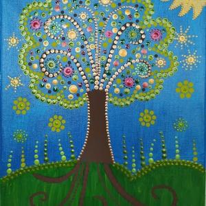 Életfa mandala, Művészet, Festmény, Akril, Festészet,  Az életfa életre és halálra, az örök fejlődésre és növekedésre, a folytonos megújulásra utal. A mél..., Meska