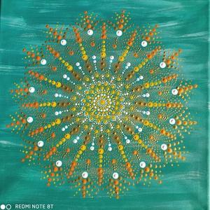 Sugárzó tavasz, Otthon & Lakás, Dekoráció, Mandala, Festészet, Mindenmás, Március 1.-én készült ez a mandala, ragyogóan rásütött a nap festés közben, öröm volt alkotni. Néhán..., Meska