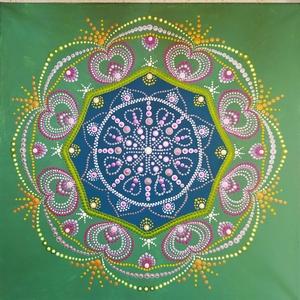 Szeretet mandala, Otthon & Lakás, Dekoráció, Mandala, Festészet, Festett tárgyak, Hétvégén készült, nagy gondoskodással, hiszen a legnemesebb érzést kívánom sugallni ezzel a mandaláv..., Meska