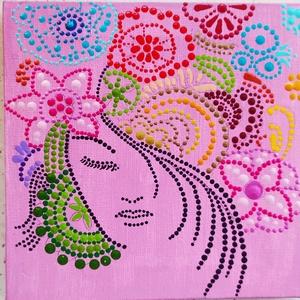 Anyák napjára, Otthon & Lakás, Dekoráció, Mandala, Festett tárgyak, Festészet, Tavaszodik, kis kertemben\nkinyílik a tulipán.\nRagyognak a harmatcseppek\nanyák napja hajnalán\nKinyílo..., Meska
