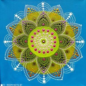 Kék égbolt, Otthon & Lakás, Dekoráció, Mandala, Festett tárgyak, Festészet, Víz, férfi, teremtés, égbolt, béke, harmónia, nyugodtság, hűvösség, konzervativizmus, magabiztosság,..., Meska